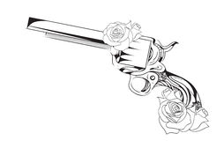 Vector vintage illustration of  revolver with roses. Royalty Free Stock Images