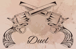 Vector vintage illustration of two revolvers. Design tattoos, postcards Stock Images