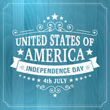 Vector vintage independence 4 July american sign on wood background Royalty Free Stock Images