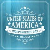 Vector vintage independencia la muestra americana del 4 de julio en el fondo de madera Imágenes de archivo libres de regalías