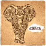 Vector vintage Indian elephant illustration. For your business Royalty Free Stock Photo