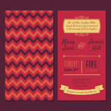 Vector Vintage Invitation card with background zigzag, letters,. Type, ribbons and heart. Easy to edit Stock Images