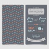 Vector Vintage Invitation card with background zigzag, letters, Stock Images