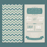 Vector Vintage Invitation card. With background zigzag, letters, type, ribbons and heart. Easy to edit Royalty Free Stock Images