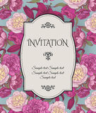 Vector vintage invitation card with bouquets of hand drawn purple and white peonies, crimson lilies on blue background Stock Image