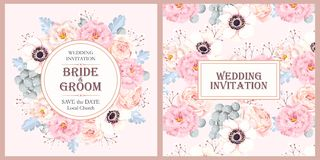 Vintage wedding invitation. Vector vintage invitation with high detailed flowers stock illustration