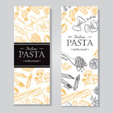 Vector vintage italian pasta restaurant illustration. Hand drawn. Banner. Great for menu, banner, flyer, card, business promote Stock Photos