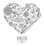 Vector vintage italian pasta restaurant illustration in heart sh Stock Photography