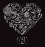 Vector vintage italian pasta restaurant illustration in heart sh Stock Image