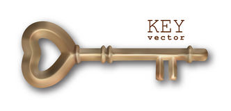 Vector Vintage Key. Vector vintage heart shape brass key on a white background Stock Photography