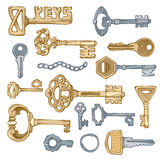 Vector vintage keys. Royalty Free Stock Photography