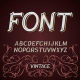 Vector vintage label font on a dark background.  vector illustration