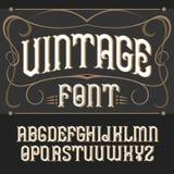 Vector vintage label font. . Vector vintage label font on a dark backround. Label font vector illustration