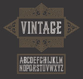 Vector vintage label font, modern style.  Whiskey label style Royalty Free Stock Photo