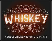 Vector vintage label font. Whiskey style. Vector vintage label font. Whiskey label style Stock Illustration