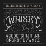 Vector vintage label font. Whisky style. Vector vintage label font. Whisky label style Stock Illustration