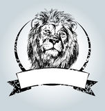 Vector vintage label with lion head Stock Photography