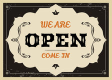 Vector vintage label. Vector retro Open sign for shops and cafe Royalty Free Stock Photography