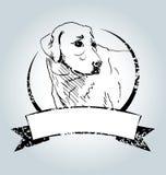 Vector vintage label with sketch Labrador Stock Images