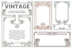 Vector vintage labels on different versions. Vector vintage labels on different versions for decoration and design Stock Photo
