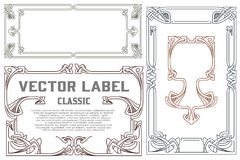 Vector vintage labels on different versions. Vector vintage labels on different versions for decoration and design Royalty Free Stock Photography