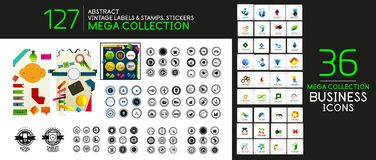 Vector vintage labels, sticker, stamps, price tags and other. Business symbols. Mega collection of icons Royalty Free Stock Image