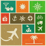 Vector vintage labels with travel signs Royalty Free Stock Photos