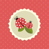 Vector Vintage Ladybird Sticker on Dotted Background Illustration Royalty Free Stock Photo