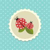 Vector Vintage Ladybird Sticker on Dotted Background Illustration Stock Photography