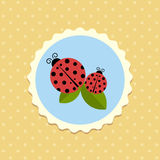 Vector Vintage Ladybird Sticker on Dotted Background Illustration Stock Photos