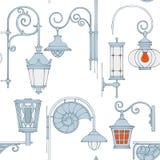 Vector vintage lamp seamless pattern. Vector vintage antique lamp seamless pattern Stock Photo