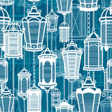 Vector vintage lantern seamless pattern. Classic antique light. Ancient retro lamp design. Traditional silhouette. Old Stock Images