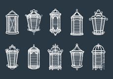 Vector vintage lantern set isolated on dark. Classic antique light. Ancient retro lamp design. Traditional silhouette Stock Images