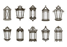 Vector vintage lantern set isolated on white. Classic antique light. Ancient retro lamp design. Traditional silhouette. Old graphic object design. Elegant Royalty Free Stock Image