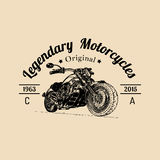 Vector vintage legendary motorcycles logo. Biker store icon, MC sign. Vintage illustration of hand drawn classic chopper Royalty Free Stock Photo