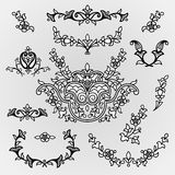 Vector vintage line art vignettes in Eastern style. Royalty Free Stock Images