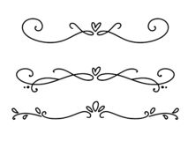 Vector vintage line elegant valentine dividers and separators, swirls and corners decorative ornaments. Floral lines filigree. Design heart elements. Flourish royalty free illustration