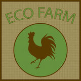 Vector vintage logo for eco farm with cock silhouette Stock Photography
