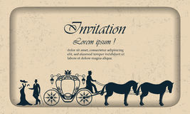 Vector Vintage luxury wedding invitation, lady, gentleman and the coach. Old shabby background with carriage for design Stock Photography
