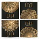 Vector vintage mandala card set,gold color. Oriental design Layout. Islam, Arabic, Indian, ottoman motifs. Front page and back royalty free illustration