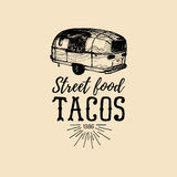 Vector vintage mexican food truck logo. Tacos icon.Retro hand drawn hipster street snack car illustration.Eatery emblem. Royalty Free Stock Image