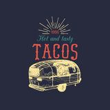 Vector vintage mexican food truck poster. Tacos icon. Retro hand drawn hipster street snack car illustration Stock Photos