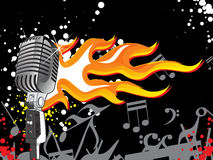 Vector vintage microphone with fire Stock Image