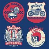 Vintage motorcycle badge set vector illustration