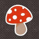 Vector vintage mushroom sticker Stock Photo