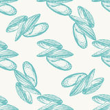 Vector vintage mussel pattern. On gray background Royalty Free Stock Images