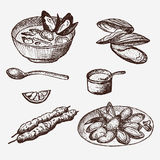 Vector vintage mussel set drawing. Hand-drawn mussel. Vector Illustration. Template for design seafood shop or restaurant Royalty Free Stock Photos