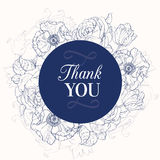 Vector Vintage Navy Blue Vintage Floral Drawing Wedding Thank You Card Stock Image