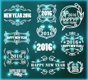 Vector vintage neon frames for happy new year. Vector set of vintage neon frames for happy new year Royalty Free Stock Images