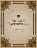 Vector vintage old paper background with royal pattern frame as a template to create book covers. Royalty Free Stock Photography